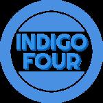 """Logo der Band """"Indigo Four"""". Kreis, in der Mitte der Bandbname."""