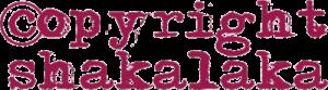 """Logo der Band """"copyright shakalaka"""". Zweizeiliger Schriftzug. oben """"copyright"""", darunter """"shakalaka"""", der Buchstabe 's' in Folm eines Klammeraffen."""