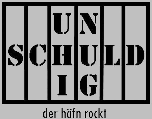 """Logo des Rock-Musicals """"Unschuldig"""". Ein stilisiertes Gefängnisgitter, zwischen den Stäben dreizeilig mittig die Silben 'Un', 'schuld' und 'ig'."""