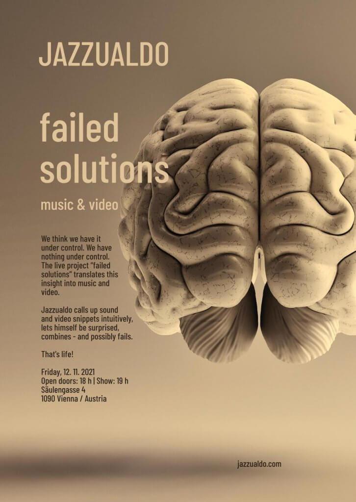 Jazzualdo Veranstaltungsplakat. Linke Spalte der Teaser-Text, rechte Spalte die Abbildung eines menschlichen Gehirns